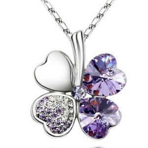Lavender Four Heart Clover necklace,with Swarovski